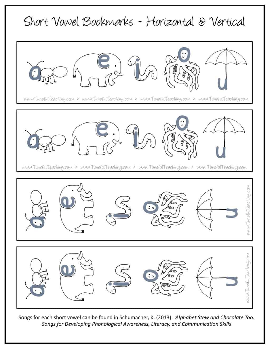 Short Vowel Bookmarks Tuneful Teaching